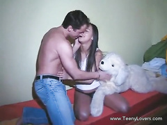 Strong muscled guy seduces beautiful brunette chick