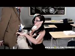 Big boobed brunette teacher seduces and fucks her handsome student guy