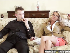 Luxurious blonde milf got licked and fucked hard by young guy
